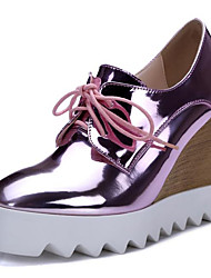 cheap -Women's Patent Leather / Microfiber Spring Heels Wedge Heel Pointed Toe Silver / Blue / Pink