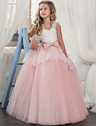 cheap -Princess Floor Length Wedding / Party / Pageant Flower Girl Dresses - Lace / Tulle / Mikado Sleeveless Square Neck with Bow(s) / Splicing