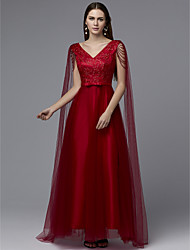 cheap -A-Line Luxurious Red Engagement Formal Evening Dress V Neck Sleeveless Floor Length Lace Satin Tulle with Bow(s) Beading Draping 2020