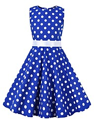 cheap -Audrey Hepburn Floral Style Vintage Vintage Inspired Hepburn Dress JSK / Jumper Skirt Girls' Kid's Costume Blue / White Vintage Cosplay Party / Evening Family Gathering Festival Sleeveless Above Knee