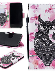 cheap -Case For Apple iPhone XR Wallet / Card Holder / Shockproof Full Body Cases Owl Hard PU Leather