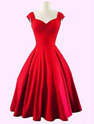 cheap -Women's Plus Size Red Black Dress Vintage Summer Party A Line Solid Colored Sweetheart Neckline Black M L / Cotton