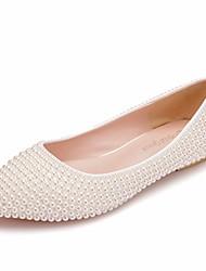 cheap -Women's PU(Polyurethane) Spring &  Fall Sweet Wedding Shoes Flat Heel Pointed Toe Imitation Pearl Ivory