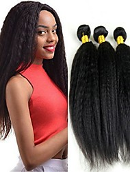cheap -3 Bundles Brazilian Hair Yaki Straight Human Hair Unprocessed Human Hair Gifts Cosplay Suits Headpiece 8-28 inch Natural Color Human Hair Weaves Soft Classic Lovely Human Hair Extensions