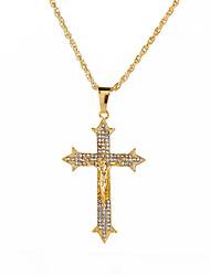 cheap -Men's Cubic Zirconia Pendant Necklace Classic Cross Vintage Rock Hip-Hop Chrome Imitation Diamond Gold 71 cm Necklace Jewelry 1pc For Street Bar