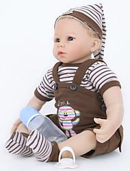 abordables -FeelWind Poupées Reborn Bébés Garçon 22 pouce Silicone Vinyle - réaliste Fait à la Main Mignon Sécurité Enfant Enfant / Adolescent Non Toxique Pour enfants Unisexe Jouet Cadeau