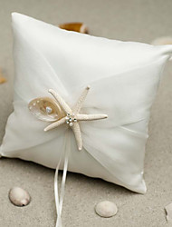 cheap -Silk Like Satin Starfish and Seashell Satin Ring Pillow Wedding All Seasons