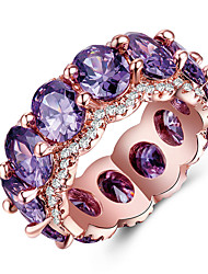cheap -Women's Band Ring thumb ring Cubic Zirconia Amethyst 1pc Rose Green Blue Copper Round Unique Design Wedding Party Jewelry Geometrical Mood Cool Lovely