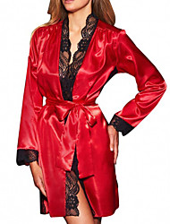 cheap -Women's Lace Sexy Robes / Satin & Silk Nightwear Patchwork / Solid Colored Black Blue Red S M L/StayCation