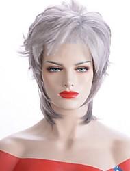 Недорогие -Аксессуары для костюмов Прямой Боковая часть Парик Короткие Серый Искусственные волосы 33 дюймовый Жен. Женский Серый