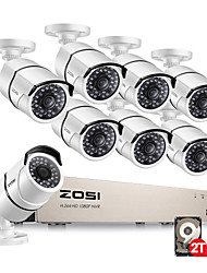 cheap -ZOSI® Security Outdoor Indoor  Cameras System 8CH 1080P HD-TVI CCTV DVR Recorder 2TB HDD with 8 Weatherproof 2.0MP 1080P Night Vision Surveillance Cameras White