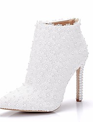 cheap -Women's Lace / PU(Polyurethane) Spring &  Fall Sweet Wedding Shoes Stiletto Heel Pointed Toe Booties / Ankle Boots Imitation Pearl / Satin Flower White
