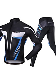 cheap -Realtoo Men's Long Sleeve Cycling Jersey with Tights Blue / Black Bike Clothing Suit 3D Pad Sports Spandex Classic Mountain Bike MTB Road Bike Cycling Clothing Apparel / Micro-elastic / Triathlon