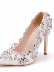 cheap -Women's PU(Polyurethane) Spring &  Fall Classic Wedding Shoes Stiletto Heel Pointed Toe Rhinestone / Sparkling Glitter White