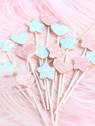 cheap -Cake Topper Classic Theme / Holiday / Wedding Artistic / Retro / Unique Design Fabrics Party / Birthday with Paillette 5 pcs OPP