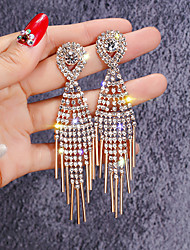 cheap -Women's White Cubic Zirconia tiny diamond Drop Earrings Long European everyday Iced Out Rhinestone Gold Plated Earrings Jewelry Gold For Street 1 Pair