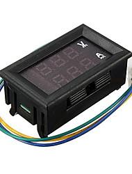 Недорогие -DC двойной дисплей цифровой измеритель тока и напряжения глава три линии красный и синий DC 4.5-30v 0-100a