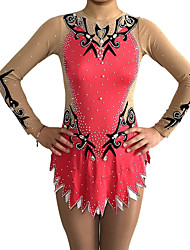 cheap -Rhythmic Gymnastics Leotards Artistic Gymnastics Leotards Women's Girls' Leotard Vivid Pink Spandex High Elasticity Handmade Print Jeweled Long Sleeve Competition Ballet Dance Ice Skating Rhythmic