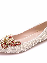 cheap -Women's PU(Polyurethane) Spring &  Fall Sweet Wedding Shoes Flat Heel Pointed Toe Bowknot / Imitation Pearl / Sparkling Glitter White / Beige