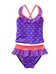 abordables -Enfants Fille Sports Géométrique Sans Manches Coton Maillot de Bain Violet