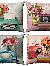 cheap -4 pcs Cotton / Linen Pillow Cover, Floral Pattern Floral Print Flower Patterned