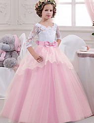 cheap -Kids Girls' Cute Patchwork Mesh Lace Patchwork 3/4 Length Sleeve Maxi Dress Blue