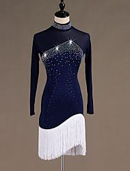 cheap -Latin Dance Dresses Women's Training / Performance Spandex / Tulle Tassel / Crystals / Rhinestones Long Sleeve High Dress
