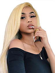 cheap -Virgin Human Hair Full Lace Wig Minaj style Brazilian Hair Straight Blonde Wig 130% Density 12-22 inch with Baby Hair Best Quality Hot Sale with Clip Women's Medium Length Human Hair Lace Wig WoWEbony