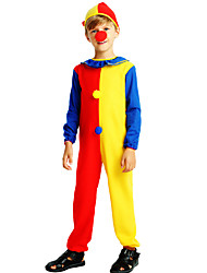 cheap -Burlesque Clown Circus Party Costume Kid's Boys' Funny & Reluctant Halloween Christmas Halloween Carnival Festival / Holiday Polyster Blue Carnival Costumes Color Block