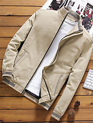 cheap -Men's Stand Collar Fall Jacket Regular Solid Colored Daily Basic Plus Size Long Sleeve Black Blue Yellow M L XL