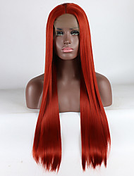 cheap -Synthetic Lace Front Wig Straight Free Part Lace Front Wig Long Red Synthetic Hair 18-26 inch Women's Adjustable Lace Heat Resistant Red