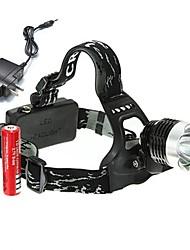Недорогие -Налобные фонари Велосипедные фары Фары для велосипеда Перезаряжаемый 1800 lm Светодиодная лампа 1 излучатели 3 Режим освещения с батарейками и зарядным устройством Перезаряжаемый Угловой фонарь