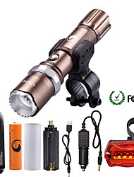 cheap -U'King LED Flashlights / Torch 2000 lm LED LED Emitters 5 Mode with Battery and Chargers Zoomable Adjustable Focus Dimmable Camping / Hiking / Caving Everyday Use Multifunction Brown / Aluminum Alloy