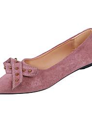 cheap -Women's Flats Flat Heel Bowknot PU Casual Spring Black / Dusty Rose