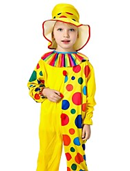 cheap -Burlesque Clown Circus Party Costume Kid's Boys' Funny & Reluctant Halloween Christmas Halloween Carnival Festival / Holiday Nylon Tactel Yellow Carnival Costumes Polka Dot