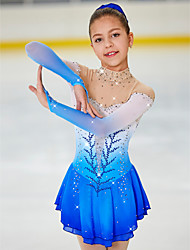 cheap -Figure Skating Dress Women's Girls' Ice Skating Dress Light Yellow Yan pink Purple Halo Dyeing Spandex High Elasticity Competition Skating Wear Warm Handmade Jeweled Rhinestone Long Sleeve Ice