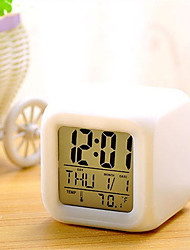 cheap -7 Colors LED Changing Digital Alarm Clock Desk Thermometer Night Glowing Cube LCD Clock