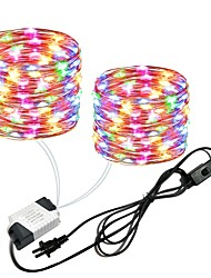cheap -2x10M 66Ft 2x100leds Waterproof Copper Wire lights Fairy String EU US Plug with Switch Direct use AC85-265V