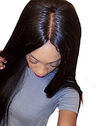 cheap -Unprocessed Human Hair Lace Front Wig style Brazilian Hair Yaki Straight Black Wig 130% Density with Baby Hair Silky with Clip Glueless Women's Human Hair Lace Wig WoWEbony
