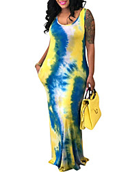 cheap -Women's Maxi Sheath Dress - Sleeveless Color Block Spring Summer Basic Daily Going out Yellow S M L XL