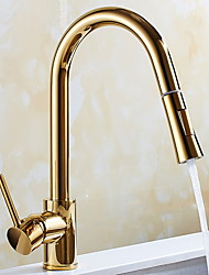 cheap -Pullout Spray Kitchen faucet - Single Handle One Hole Electroplated Pull-out / ­Pull-down / Tall / ­High Arc Free Standing Ordinary Kitchen Taps / Brass