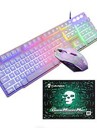 abordables -LITBest T6 USB filaire Souris clavier combo Portable Clavier de jeu Lumineux Gaming Mouse / office de la souris / souris ergonomique 1600 dpi Jeux