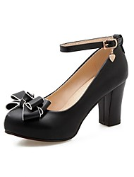 cheap -Girls' Tiny Heels for Teens PU Heels Little Kids(4-7ys) / Big Kids(7years +) Black / Beige / Pink Spring &  Fall