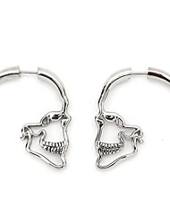 cheap -1 Pair Vintage Punk Gothic Skull Earrings Textured Bones Women Skeleton Stud Earings Fashion Jewelry
