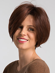 cheap -Human Hair Wig Short Natural Straight Pixie Cut Burgundy Mixed Color Fashionable Design Easy dressing Comfortable Capless Women's Black / Grey Black / Burgundy 10 inch / Ombre Hair / Natural Hairline