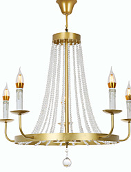 cheap -QINGMING® 5-Light Candle Mini Chandelier Uplight Painted Finishes Metal Crystal, Mini Style 110-120V / 220-240V