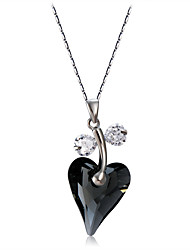 Недорогие -Жен. Черный Кристалл Ожерелья с подвесками Фигаро Цепь Сердце Простой Мода Элегантный стиль Серебрянное покрытие Хром Искусственный бриллиант Черный 44 cm Ожерелье Бижутерия 1шт Назначение