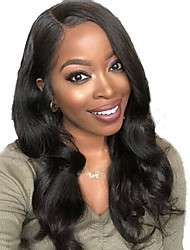 cheap -Human Hair Lace Front Wig Side Part Free Part Wendy style Brazilian Hair Wavy Body Wave Black Wig 130% Density with Baby Hair Natural Hairline For Black Women 100% Virgin 100% Hand Tied Women's