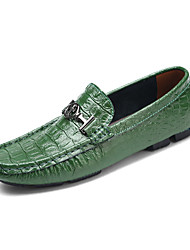 cheap -Men's Loafers & Slip-Ons Dress Shoes Casual British Daily Office & Career Walking Shoes Leather Wear Proof White Black Green Spring