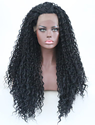 cheap -Synthetic Lace Front Wig Curly Matte Free Part Lace Front Wig Long Black#1B Synthetic Hair 24 inch Women's Women Synthetic Hot Sale Black